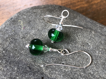 Handmade glass earrings - Simple drop - emerald green