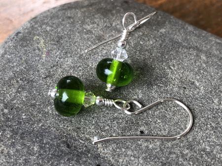 Handmade glass earrings - Simple drop - grass green