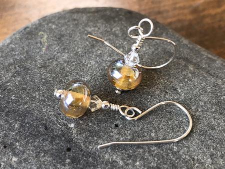 Handmade glass earrings - simple drop - helios