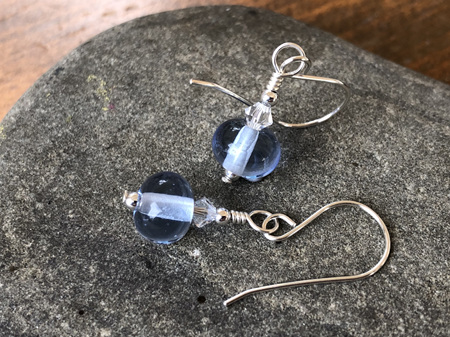 Handmade glass earrings - simple drop - pale blue