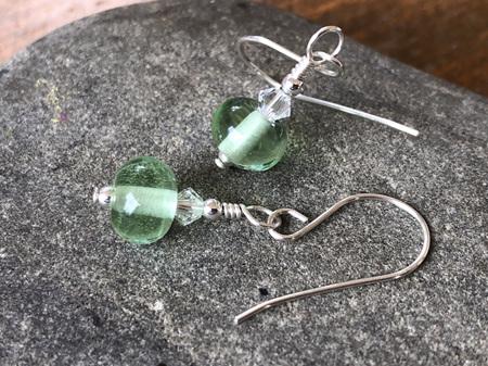 Handmade glass earrings - simple drop - pale emerald