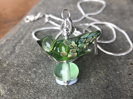 Handmade glass pendant - bird - grass green dark