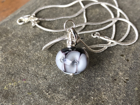 Handmade glass pendant - Bubble flower - Pale grey