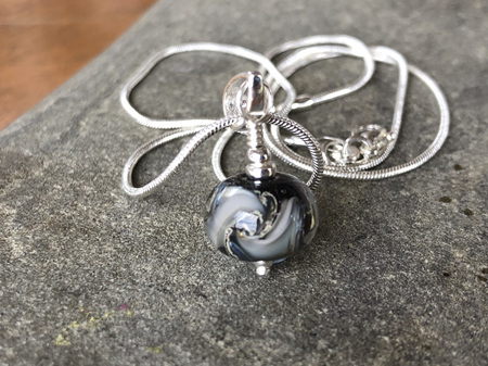 Handmade glass pendant - cosmic swirl - Monotone
