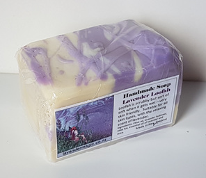 handmade lavender soap with inserted loofah