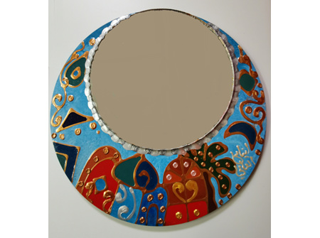 Handmade ornament wooden mirror