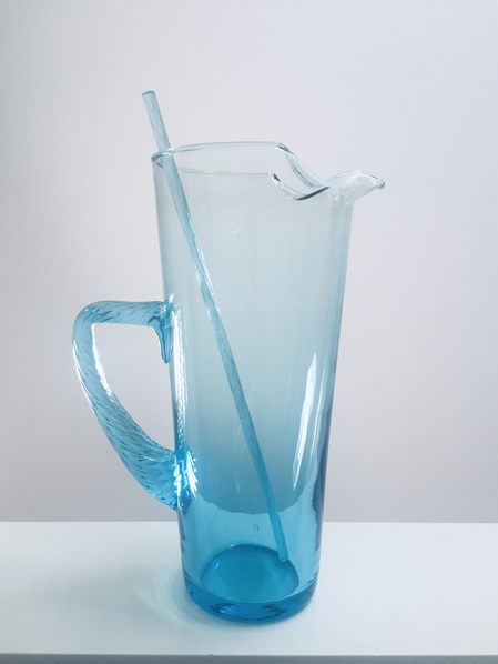 Handmade Vintage Glass Cocktail Jug with Swizzle Stick