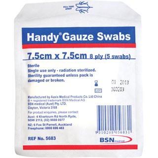 HANDY GAUZE SWABS 7.5X7.5CM PKT5