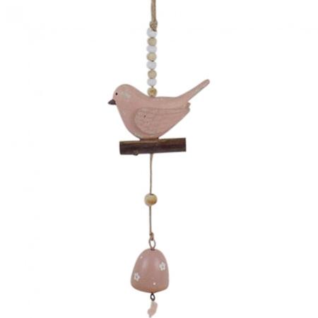 HANGING BIRD BELL PINK