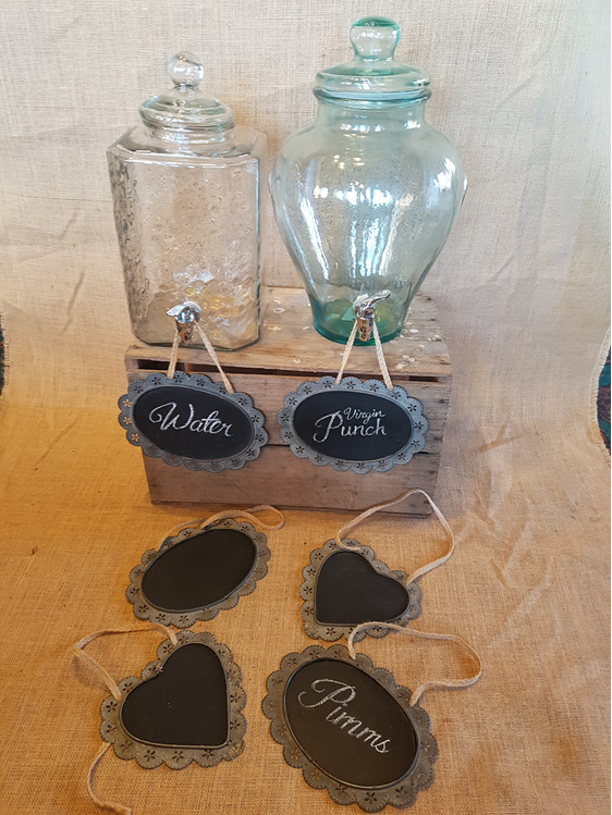 Hanging blackboard wedding and event hire