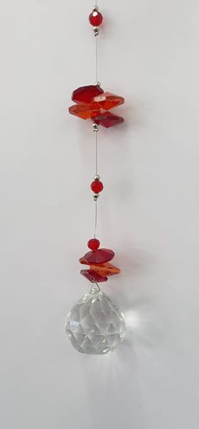 hanging crystal  red discs