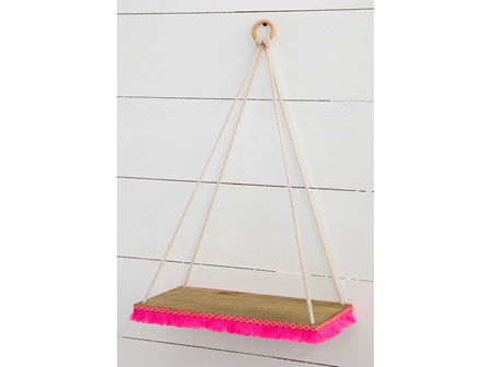 Hanging Rope Shelf - Pink