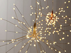 Hanging Starburst Copper Wire Battery Light 200 LED Warm White, with Remote Control