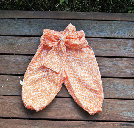 'Hannah' front-tie trousers, 'Scribble Orange' 100% Cotton (Summer Weight), 3-6 months