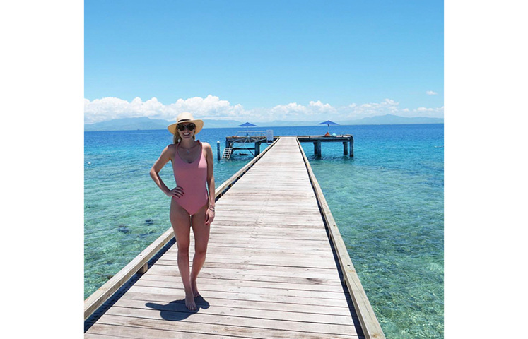 Hannah Laity on holiday in Fiji just before Beauden proposed
