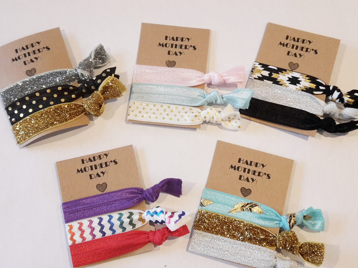 Happy Mother's Day Hair Ties Pack - available in different designs.