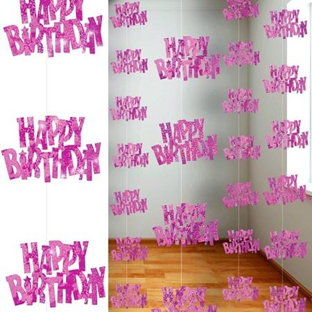 Happy Birthday Glitz Pink Hanging Decoration