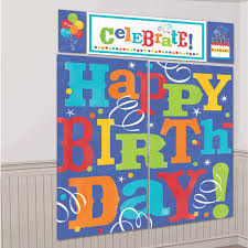 Happy Birthday Scene Setter Wall Decorating Kit 5 piece