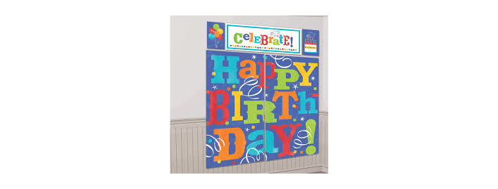 Spread The Party Fever With Our Birthday Scene Setter This Decoration Features A Gigantic Happy Headline Confetti