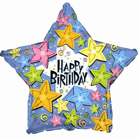 happy Birthday Stars 18 inch Superloon