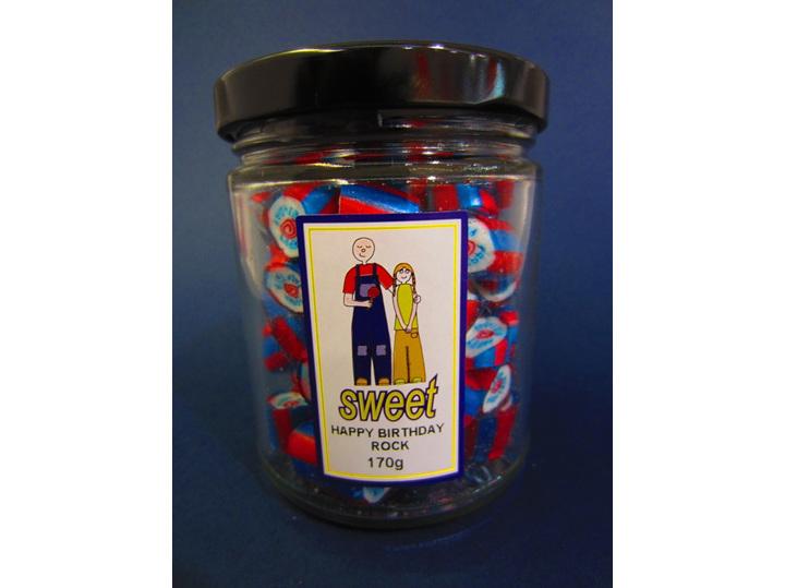 happy birthday written rock candy jar
