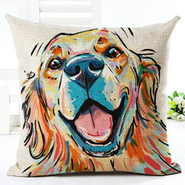 Happy Colourful Dog Cushion Cover