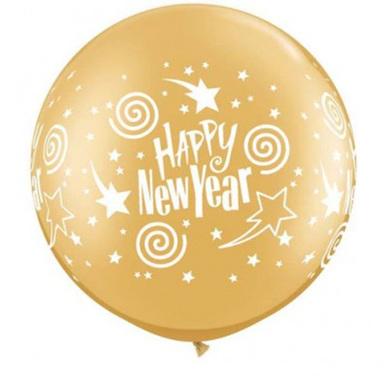 Happy New Year swirling stars