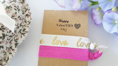 Happy ValenTIES day hair ties pack of 2