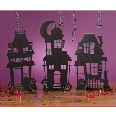 Haunted House Glitter Centrepieces x 3