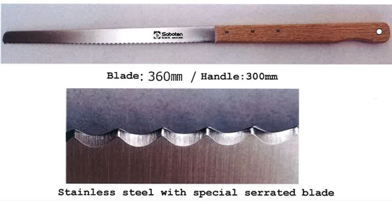 Hayabusa shearing knife with 360 mm serrated blade