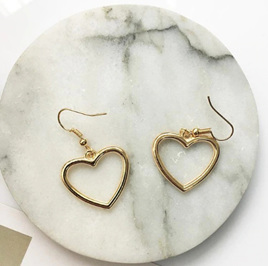 Heart Dangle Earrings - Gold