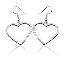 Heart Dangle Earrings - Silver