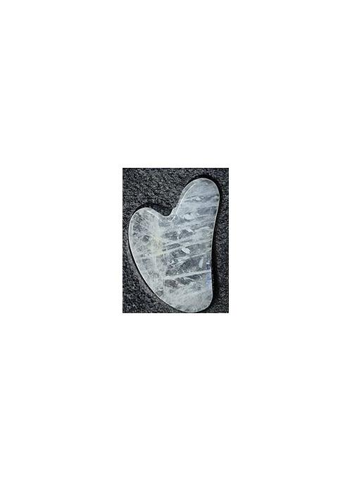 Heart Gua Sha Plate Clear Quartz