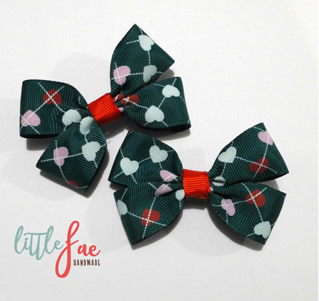 Heart hairbow set green
