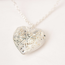 Heart Locket Necklace - Silver Plated