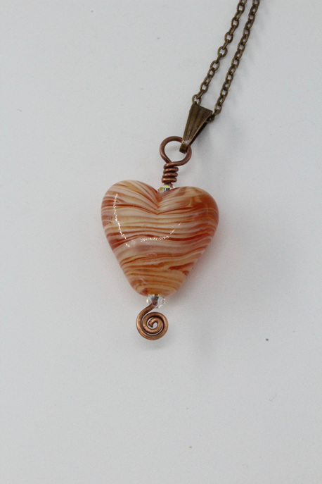 Heart pendant - Ivory/Light brown