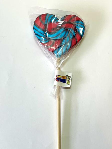 HEART POP , BLUE , BLACK , RED  , BLUEBERRY  FLAVOUR , 8CM