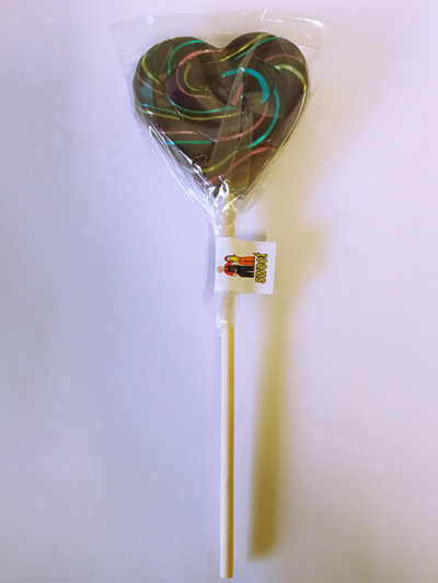 HEART POP, BLURPLE WITH NEON PIN STRIPES , WATERMELON FLAVOUR, 8cm.