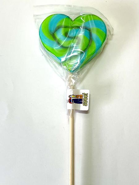 HEART POP, GREEN AND BLUE STRIPES , WATERMELON FLAVOUR, 8cm.