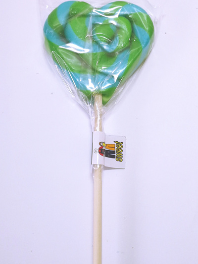 HEART POP, GREEN AND BLUE STRIPES , WATERMELON FLAVOUR, 8cm.
