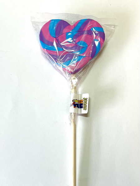 HEART POP, PINK ,BLUE , PURPLE , GRAPE FLAVOUR. 8cm