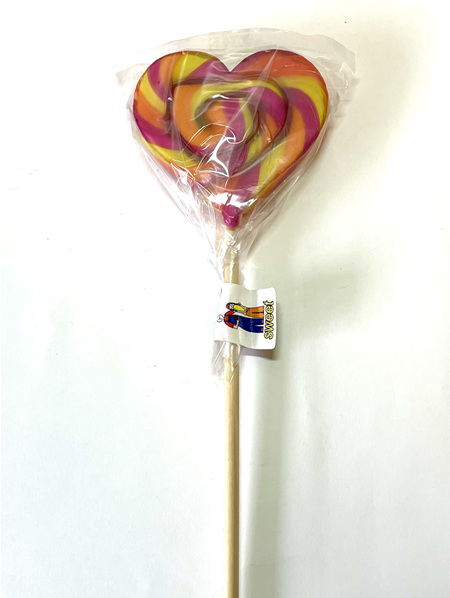 HEART POP , PINK , YELLOW , ORANGE , APPLE AND BLACKCURRANT FLAVOUR , 8CM