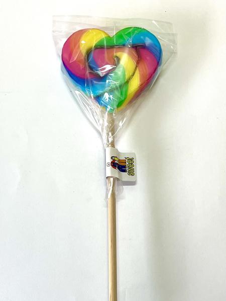 HEART POP, RAINBOW, ORANGE FLAVOUR, 8cm
