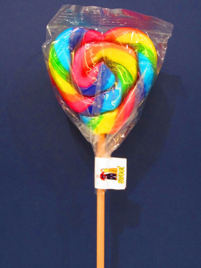 HEART POP, RAINBOW, ORANGE FLAVOUR, 8cm