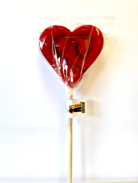 HEART POP , RED , PASSIONFRUIT  FLAVOUR, 8CM