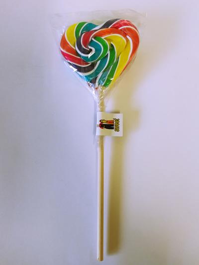 HEART POP, WHITE & RAINBOW STRIPE, LEMON FLAVOUR, 8cm.