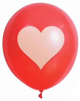 Heart Printed Balloons - Pack of 10 x 30cm