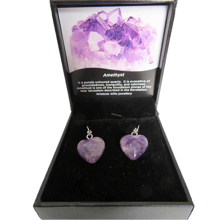 Heart shaped amethyst drop earrings