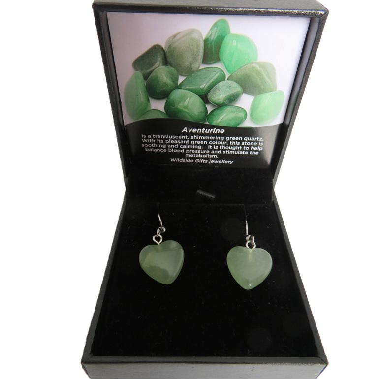 Heart shaped aventurine drop earrings