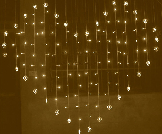 heart shaped curtain lights, led fairy lights, wedding lights, party lights